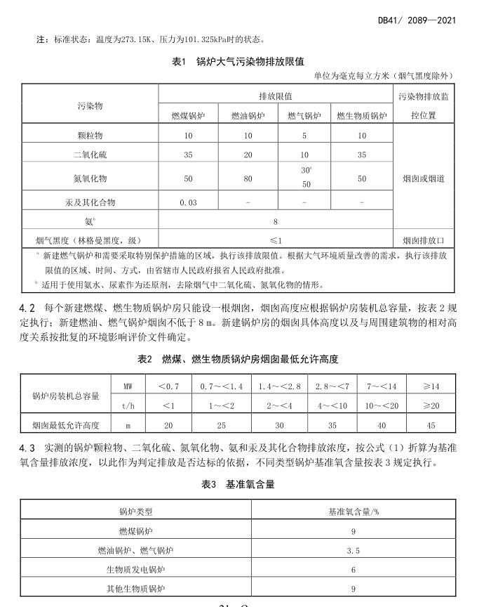 河南省2021年尊龙官网使用访问zd207大气污染物排放标准